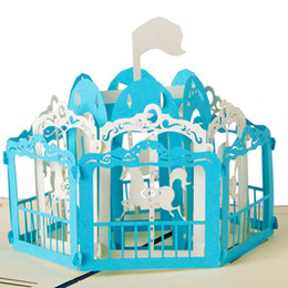 Wholesale Card Cut Out - Exclusive Merry Go Round artesanato laser cut out 3D Pop UP origami Greeting Cards postcards paper DIY crafts