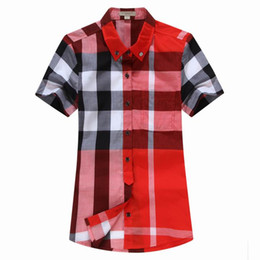 Wholesale Lapel Plaid Shirt - 2018 new summer fashion cotton plaid short sleeve women shirt classic plaid design woman casual blouses S-XXL shirts