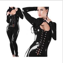 pole tanz kleidung Rabatt 2016 Neu Kommen Sexy Dessous Pole Dance Kleidung Schwarz PVC Trikot Kleid Damen Leder Overall Catsuit Teddy Fetisch Kostüm