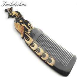 Wholesale Teeth Design - Peacock design Natural Buffalo horn Comb for hair massage Wide Tooth anti-static head Massage Hair Brush combs hairbrush