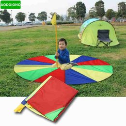 Wholesale Parachute Balls - 1 Pc 2m Child Kids Sports Development Outdoor Rainbow Umbrella Parachute Toy Jump-sack Ballute Play Parachute