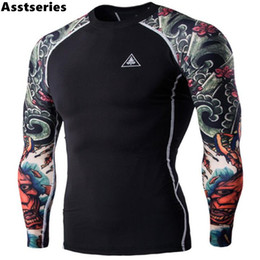 Wholesale Long Sleeves Tattoo Clothing - T-shirts Men's Digital Printing Fitness Quick-drying Clothes Wear Long Sleeve Tattoo T shirts Man Fitness Clothing Male Tops XXL