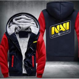 Lol hoodie online-Hooded Game Team DOTA 2 Jersey Natus Vincere NAVI Giacca CSGO LOL DOTA2 Hoodies uomo Addensare pile Zipper Top