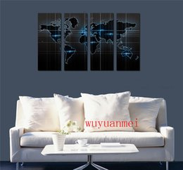 2019 mapas do mundo emoldurados Mapa do mundo, 4 PC peças Home Decor HD impresso Modern Art pintura sobre tela (sem moldura / moldado) desconto mapas do mundo emoldurados