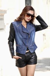 Wholesale Denim Pu Jacket - 2015 New Patchwork PU Leather Sleeves Black Edges Gradient Denim Women Jacket Zipper Closure Jeans Coat With Pockets