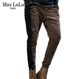 Макс LuLu 2018 новый дизайнер хип-хоп женские черные полосатые джинсы эластичные талии шаровары женщина вельветовые брюки девушки уличная одежда от Поставщики хим-хоп гарем брюки для девочек