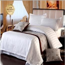 Wholesale Hotel Quilt Cover - 5 Star Hotel Home Textile White Stripe Bedding Set Queen King 4pcs Quilt Duvet Cover Bedclothes Bed Sheet Set Cotton