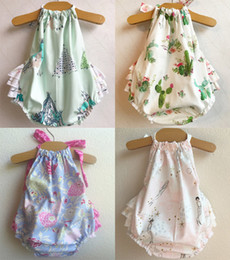 Wholesale Plaid Summer - Baby Girls Backless Cake Rompers Bandage Bow Elastic Mermaid Arrow Tent Cactus Printed Jumpsuit Infant Toddler Clothing Summer Beach Outfits