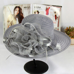 2018 women floppy church hats with floral summer organza mesh hat wide  large brim beach hat 6pcs lot 566ccecb4e3d