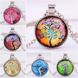 Wholesale Necklace Cabochon - 2018 6 designs Alloy Vintage Living Tree of Life Glass Cabochon With Natural Stone Bronze Chain Pendant Necklace Nice Jewelry Accessary