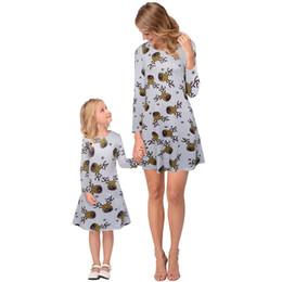 Línea de vestir madre hijo online-Navidad para padres, niños, trajes, madre e hija, invierno, manga larga, ciervos, impresión, una línea, vestidos.