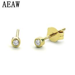 Véritable lunette en Ligne-1.8mm minuscule lunette sertie de diamant boucles d'oreilles en 14k or jaune véritable diamant boucles d'oreilles Push Backs cadeau parfait S923