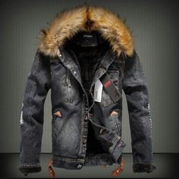 Wholesale fur collar bomber jacket - New 2017 Winter Denim Jacket Men Fur Collar Men Riiped Jeans Jacket Men Plus Size 4XL Male Bomber Jacket Faux Leanther Fleece