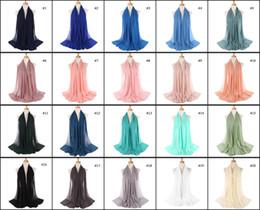 Wholesale scarves islamic women - Wholesale 70*175CM Women Chiffon Shawls Islamic Wraps Muslim Frayed Crepe Premium Cotton Hijab Scarf Table Blanket Towel Home Decor