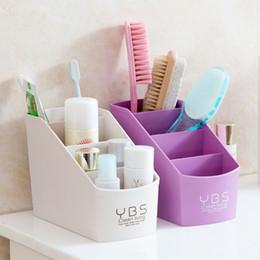 держатели для пластиковых ручек Скидка Make Up Desk Organizer 4 Slots Desktop Storage Box Case Pen Pencil Holder Multifunctional Plastic Cosmetics Organizer Creative Container