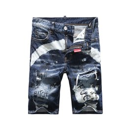 Wholesale graffiti rip - New Arrive 2018 High quality Men Short Jeans Graffiti Cotton Trousers Ripped Board Slim Jean Pocket Nightclub Holes Casual jeans 7920