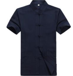 Camisa de linho do fu do kung on-line-2018 verão tradicional chinês clothing homens tang terno de linho manga curta tops kung fu camisa jaqueta de linho camisas de manga curta