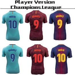 Wholesale Messi Football Player - player version Champions League #10 MESSI home Soccer Jersey 17 18 #11 O.DEMBELE away blue Soccer Shirt 3rd club team Football uniform 2018
