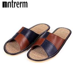 Argentina Mnterrm Hot Sale Men Home Slippers Zapatillas de casa de lino Sandalias de dormitorio interior Par de zapatillas de piel de oveja de cuero Suministro