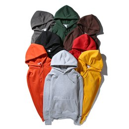 Wholesale Coloured Hoodies - 8 Colours Champ Unisex Pullover Hoodies Purple Red Small Embroidery letters Icon Fleece Hoody Plush lined Hooded Sweater ChIna Size M-XL