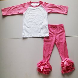 Wholesale Toddler Ruffle Shirts - Hot Pink In Raglan Long Sleeve T-Shirt For Toddler Girls Long Icing Legging Tights With Three Layer Folds Ruffle