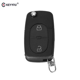 audi folding key Promo Codes - Car Key KEYYOU 2 BUTTON FOLDING FLIP REMOTE KEY BLNK FOB CSE SHELL PAD FOR FOR AUDI A2 A3 A4 A6 CR2032