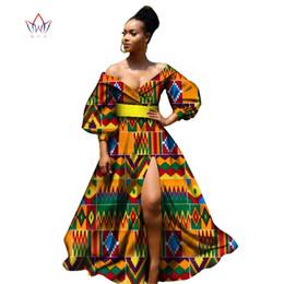 peixe impressão vestidos mulheres Desconto Bazin africano vestidos para as mulheres africano mangas três quartos vestidos para as mulheres roupas africano tecido dashiki cera WY2255