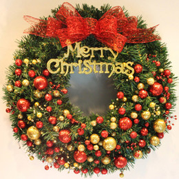 Wholesale Merry Christmas Wreath - Wholesale-2017 40cm Christmas Door Hanging Ornaments Pine Rattan Garland with Balls Merry Christmas Decorations for Home Xmas Wreath R086