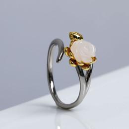 2019 jade rose ringe RADHORSE 925 Silber Ringe für Frauen Edlen Schmuck Hetian White jade Rose Modellierung Sterling Silber Ring Einstellbar Schwarz günstig jade rose ringe