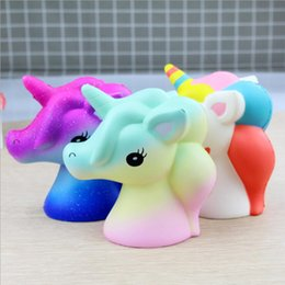Wholesale Gift Fabric - Unicorn Squishy Squeeze Toy Novelty Cute PU Flying Horse Squishies Decompression Toys Children Gift Jumbo Squishy KKA4836