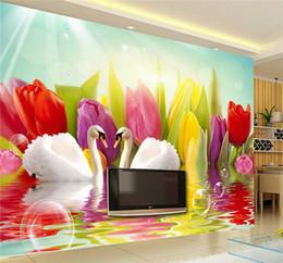 Mural do lago on-line-Bela cisne lago personalizado foto papel de parede arte papel de parede restaurante retro sofá pano de fundo 3d papel de parede 3d mural papel de parede decoração de casa