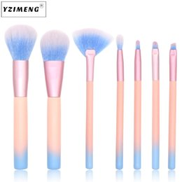 Wholesale Glitter Eye Designs - 2018 New Design 7PCS Makeup Brushes Pretty Pink Glitter Makeup Brush Set Foundation Brush for Face and Eye Makeup Tools