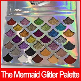 Wholesale Eye Shadow 32 Color - Newest Cleof Cosmetics The Mermaid Glitter Palette shimmer Eye Makeup 32 color Eye shadow Palette with mirror