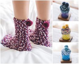 Wholesale cashmere socks wholesale - 9 Styles For Women 'S Cake Socks In Tube Bubble Coral Cashmere Girl Socks Gift Box Soft Socks Wholesale Christmas Gift Free DHL G502S
