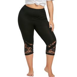 be7deae7c33 Summer 2018 Leggings Women Plus Size 5XL Fitness High Waist Solid Black  Lace Patchwork Capri Elastic Leggings 522