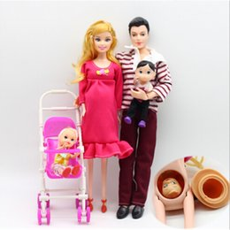 Wholesale Family Dolls - 1Set Family 5 People Dolls Suits Mom   Dad   Girl Boy  Baby Carriage Real Pregnant Doll Gifts Hot Selling