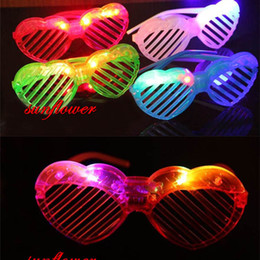 Wholesale Heart Costumes Adults - Kids Adult Cool Heart Shape Light-Up Shutter Glasses LED Flashing Blinking Eye Glasse Cosplay Costume Accessories