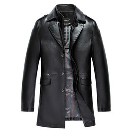 Wholesale Men S Formal Hats - Wholesale- Men's autumn winter double collar washed leather windbreaker jacket lapel PU leather artificial trench coat size M LXL2XL3XL 4XL