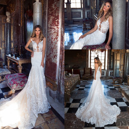 Wholesale White Bridal Lights - 2018 Light Champagne Sexy Illusion Bodices Mermaid Wedding Dresses Sheer Neck Sleeveless Lace Appliques Wedding Bridal Gowns Vintage