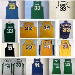 Wholesale high johnson - Men's NCAA College Vintage High school jersey Magic 32 Earvin Johnson 33 Abdul Jabbar 44 Jerry West 34 Shaquille O Neal basketball jerseys