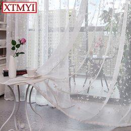 2019 cortinas de linho bordadas Pastoral bordado cortinas de linho para sala de estar cortinas de tule branco Sheer Volie Janela Quarto Rendas Tecidos Cortinas cortinas de linho bordadas barato