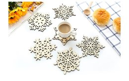 Wholesale Fashion Coasters - Snow Shape Kitchen Heat Insulation Pad Fashion Wooden Cup Mats Coasters Non-slip Dish Mat Wedding Supply