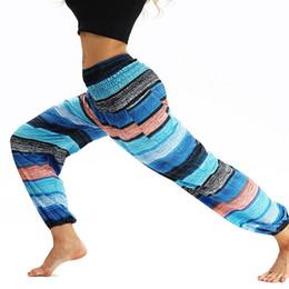 88b6bd0e6 2018 mulheres azul listrado cintura alta dança yoga calças soltas moletom  esporte leggings bohemia leggins correndo calças atléticas