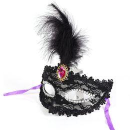 Wholesale Gray Masquerade Masks - 1 pc wholesaleParty Masks Masquerade Masks Halloween Christmas Feather Mask Fashion Women Sexy Half Face Masked AEI-381