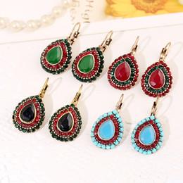 Wholesale Drop Shape Gem - Green red black blue gem ladies earrings European and American retro earrings Bohemian national wind drop shape earrings