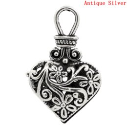 wholesale carved wood pendants Coupons - Doreen Box Lovely Charm Pendants Heart Antique Silver Hollow Flower Carved 31x19mm,10PCs (B23064)