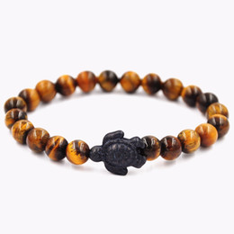 Wholesale turtle charms for bracelets - Yellow Tiger'eye Stone Bead Bracelets Turtle Black Charm Wristband Yoga Fashion Jewelry For Men Women Gift