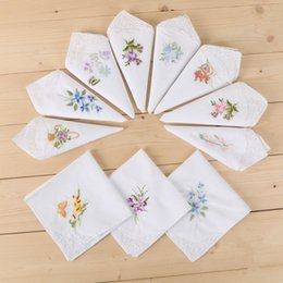 Wholesale Women Handkerchief Cotton - White Handkerchiefs cotton enbroidery handkercheif for women decoration partty dress small square towel cotton textile pure color HKC02