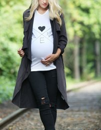Tops brancos de maternidade on-line-Grávidas camisa do verão grávidas Roupa Mulheres de algodão branco T de maternidade confortáveis grávidas Maternidade Camisetas AMO Casual Top