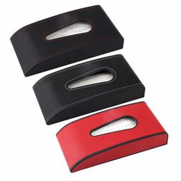 Boîte à tissu en Ligne-Voiture Tissue Boîte De Voiture De Voiture Intérieur En Cuir Tissu D'extraction Boîte De Stationnement Carte Suspendue Titulaire Cas pour Auto Maison